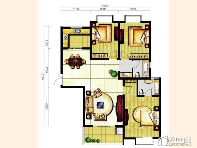 奥林花园三期D5-1樂尚户型3室2厅2卫 129.00㎡