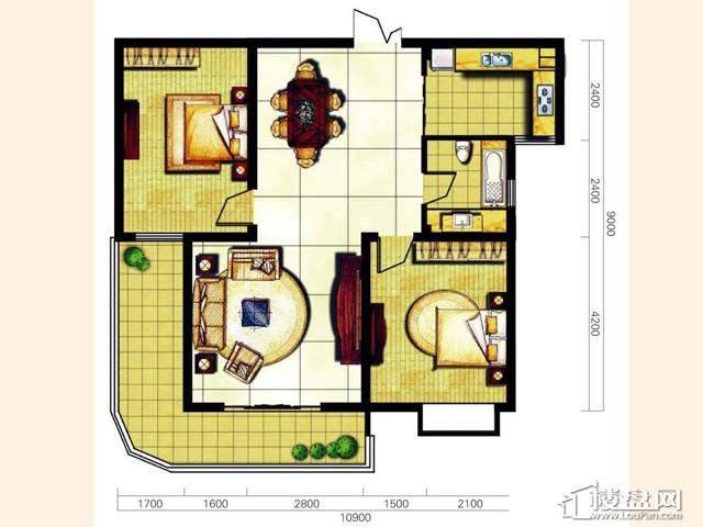 奥林花园三期D5-2风尚户型2室2厅1卫 107.00㎡