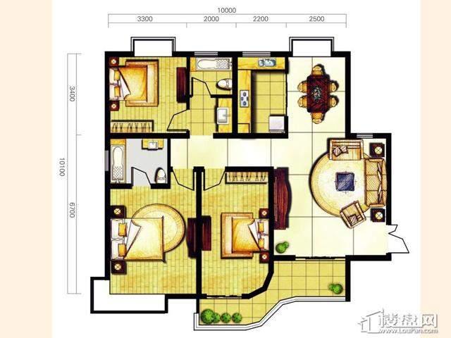 奥林花园三期D5-3尊尚户型3室2厅2卫 127.66㎡