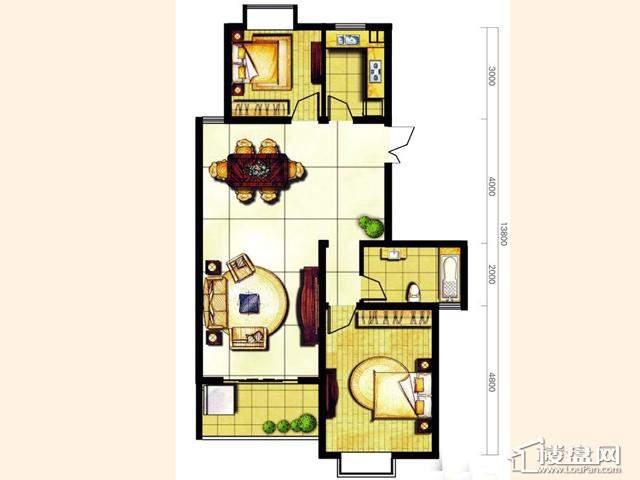 奥林花园三期D6-4明致户型2室2厅1卫 109.05㎡