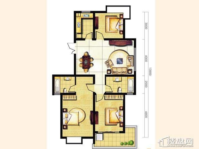 奥林花园三期D6-5尚致户型3室2厅2卫 119.39㎡