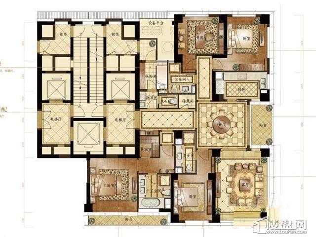 蠡湖香樟园C户型4室2厅4卫1厨 268.00㎡