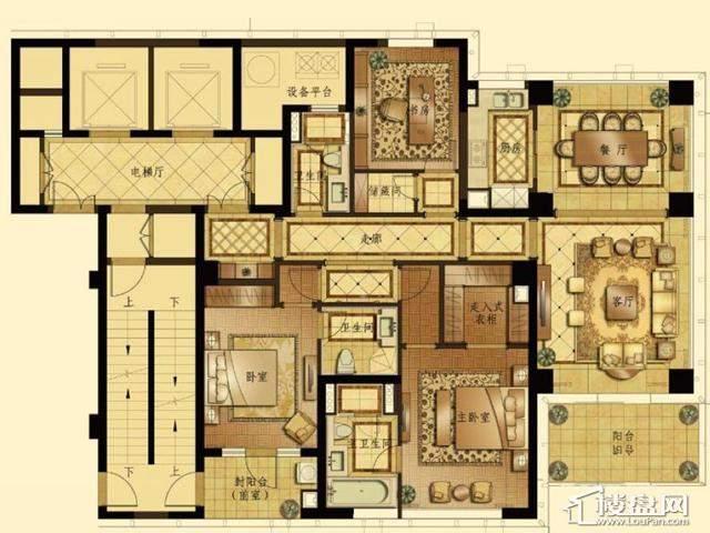 蠡湖香樟园高层1#A户型3室2厅2卫1厨 200.03㎡