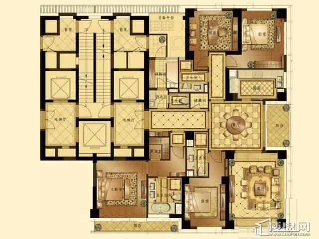 蠡湖香樟园高层2#4#C户型4室2厅4卫1厨 259.00㎡