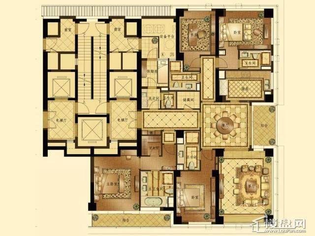 蠡湖香樟园高层3#5#平D户型4室2厅4卫1厨 287.59㎡