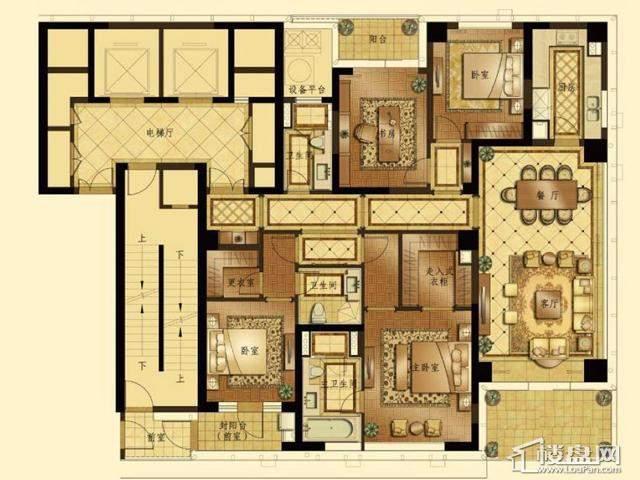 蠡湖香樟园高层6#E户型4室2厅3卫1厨 230.28㎡