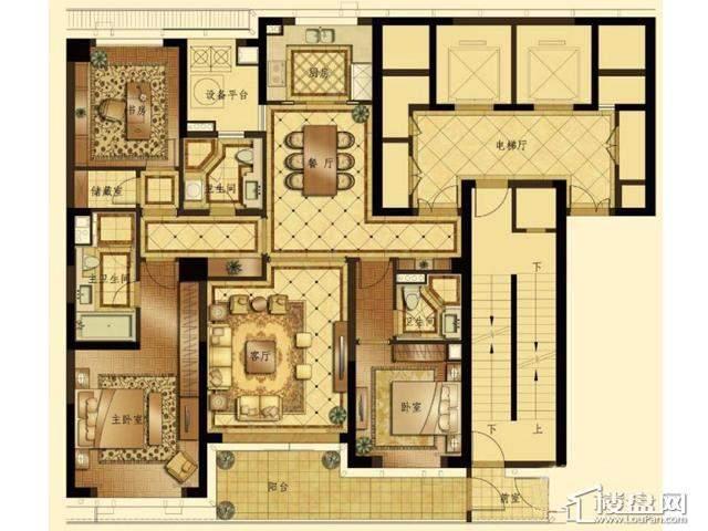 蠡湖香樟园高层6#F户型3室2厅2卫1厨 184.69㎡