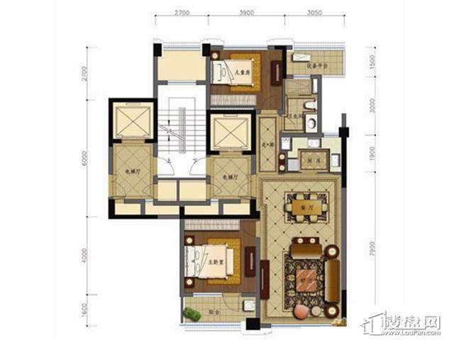 绿城玉兰花园1#楼B-1户型(售完)2室2厅1卫 104.36㎡