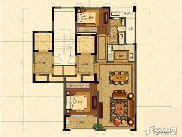 绿城玉兰花园1号楼B4户型2室2厅1卫1厨 105.43㎡