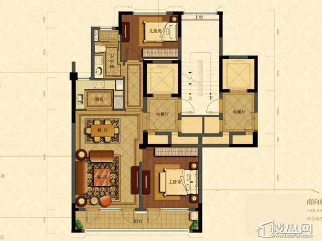 绿城玉兰花园1号楼B5户型2室2厅1卫1厨 102.43㎡