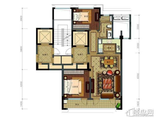 绿城玉兰花园2号楼B3户型2室2厅1卫1厨 103.00㎡