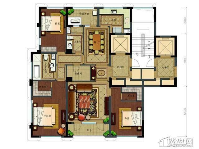 绿城玉兰花园2号楼C17户型3室2厅2卫1厨 177.25㎡