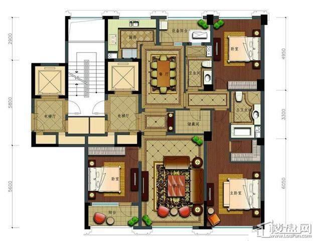 绿城玉兰花园2号楼C18户型3室2厅2卫1厨 177.85㎡