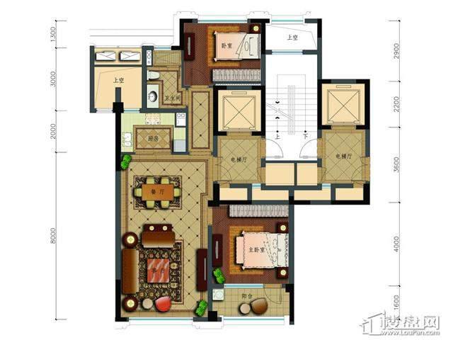 绿城玉兰花园二期观山苑B2户型2室2厅1卫 107.87㎡
