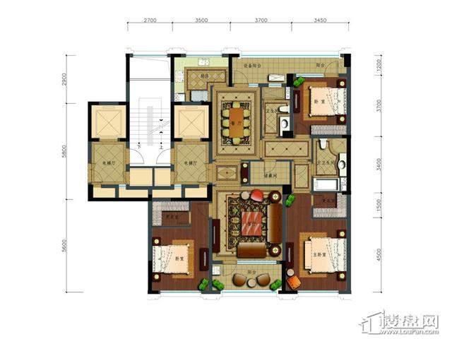 绿城玉兰花园二期观山苑C7户型3室2厅2卫 169.21㎡