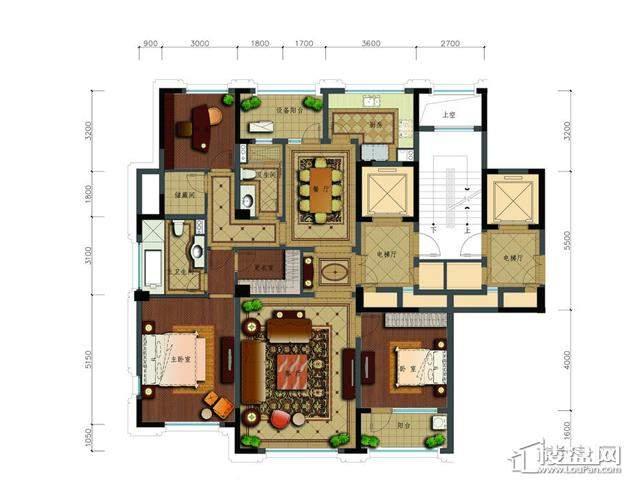 绿城玉兰花园二期观山苑C8户型3室2厅2卫 175.06㎡