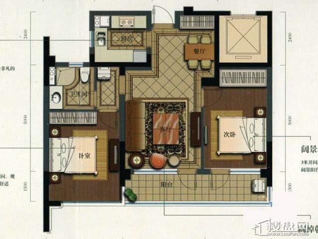 绿城玉兰花园西区E1户型2室2厅1卫1厨 89.93㎡
