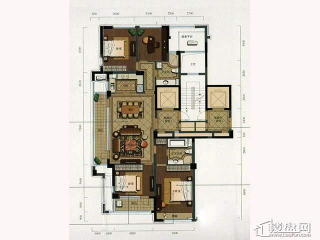绿城玉兰花园西区G1户型4室2厅2卫1厨 168.91㎡