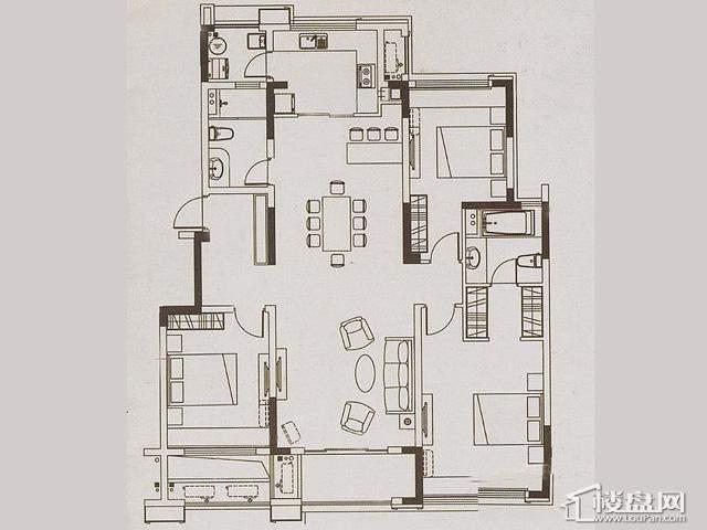 魅力万科城酩悦宽景洋房134平3室2厅2卫 134.00㎡