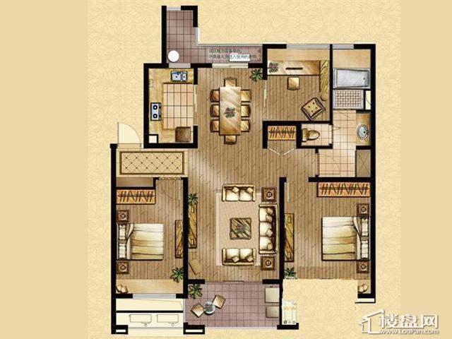 魅力万科城酩悦宽景洋房E1户型3室2厅1卫 115.00㎡