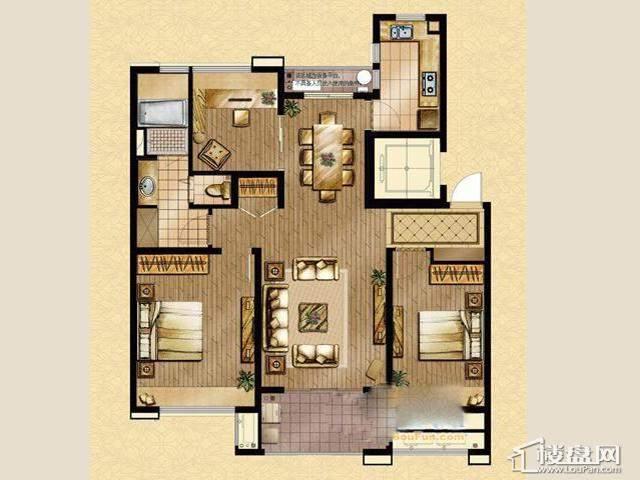 魅力万科城酩悦宽景洋房E2户型3室2厅1卫 115.00㎡