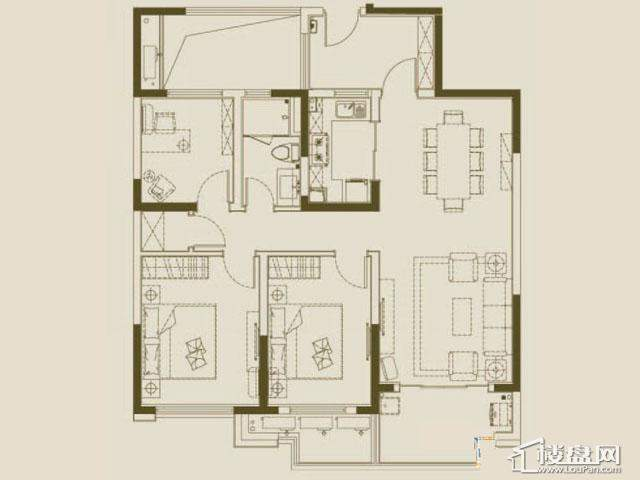 魅力万科城酩悦央景组团户型图3室2厅1卫1厨 105.00㎡