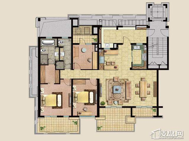 魅力万科城酩悦怡然居C户型4室2厅2卫 148.00㎡