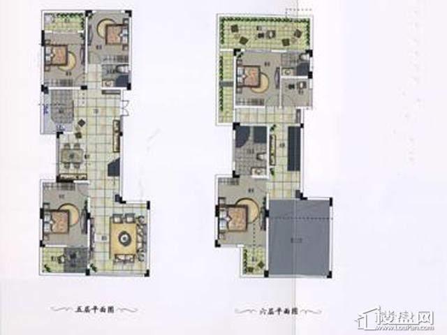 荣御山庄山景花园洋房D户型5室2厅3卫 232.00㎡