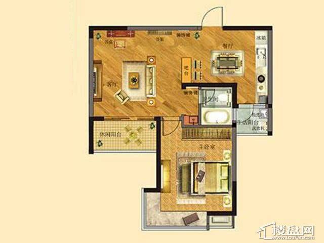 太湖国际社区39#ME邸ⅡB户型1室2厅1卫 68.87㎡