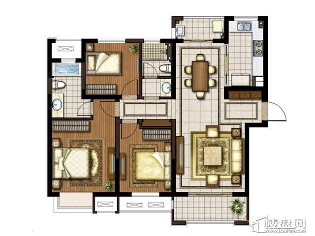 太湖国际社区[御景]精装120户型3室2厅2卫1厨 120.00㎡