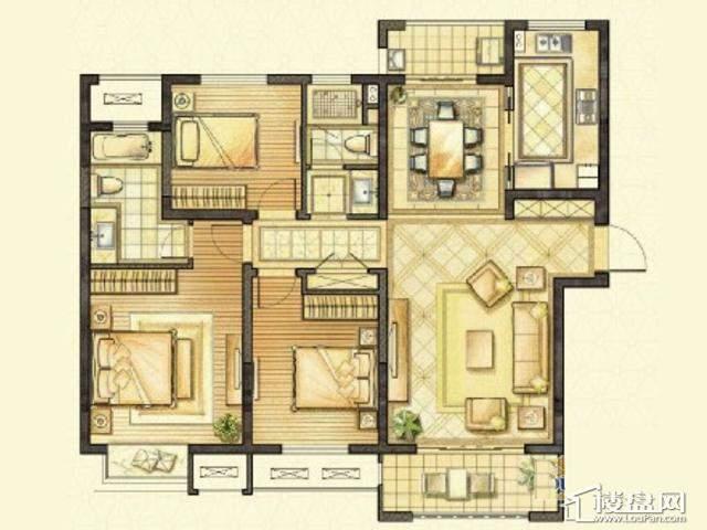 太湖国际社区[御景]毛坯120户型3室2厅2卫1厨 120.00㎡