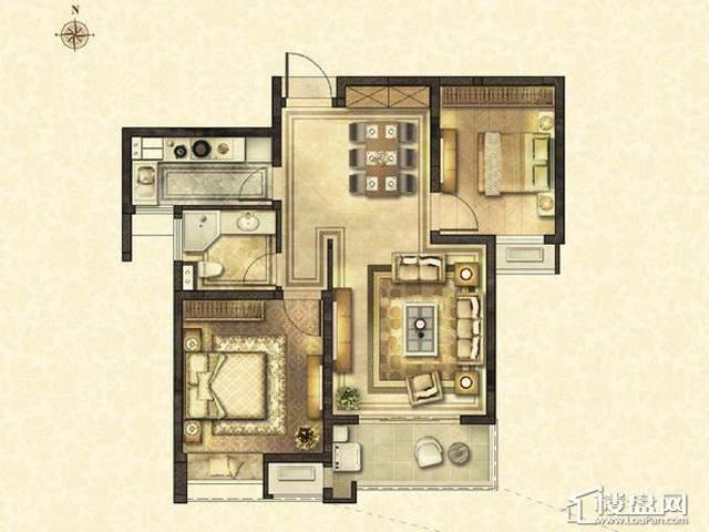 太湖国际社区D2户型2室2厅1卫1厨 89.13㎡