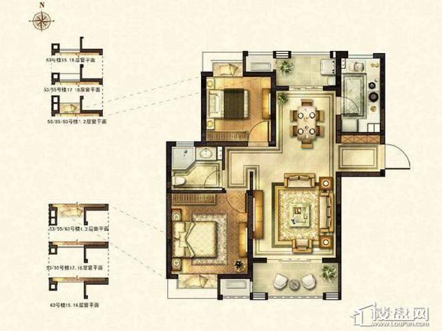 太湖国际社区E1户型2室2厅1卫1厨 88.81㎡
