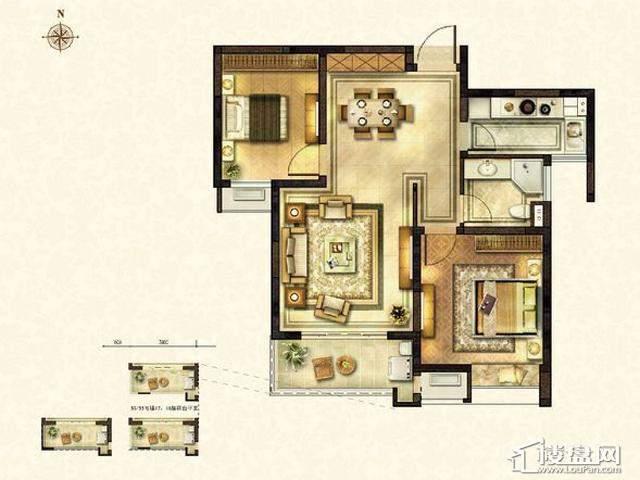 太湖国际社区E2户型2室2厅1卫1厨 88.75㎡