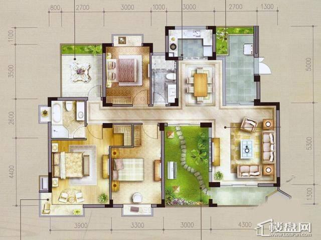 太湖国际社区花厅美墅ⅡB3户型3室3厅2卫 136.23㎡