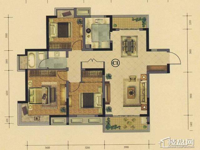 太湖国际社区空中花园小豪宅ME邸ⅢC1户型3室2厅1卫 118.00㎡