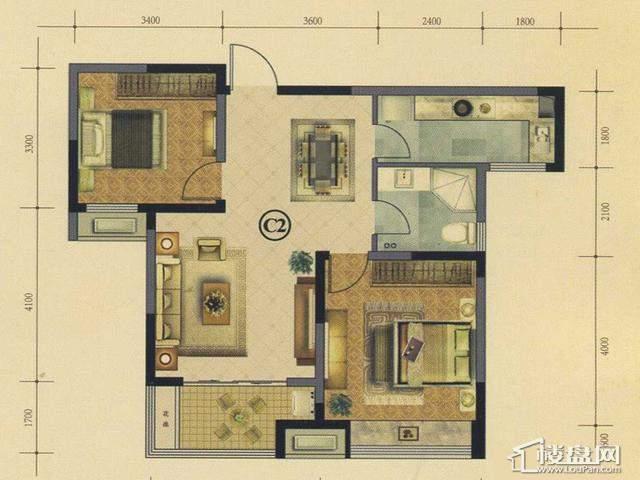 太湖国际社区空中花园小豪宅ME邸ⅢC2户型2室2厅1卫 89.00㎡