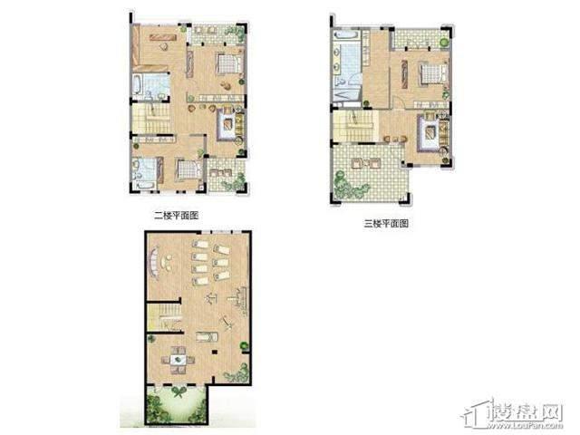 太湖锦园别墅E户型一楼 二楼 三楼 地下室3室3厅4卫1厨 407.00㎡