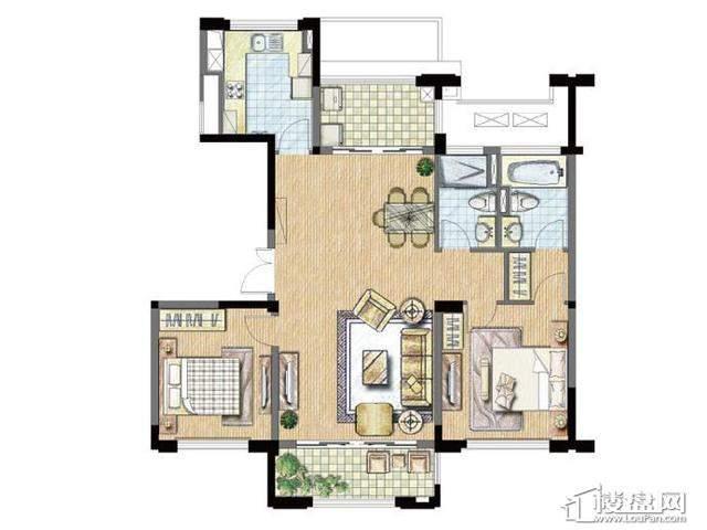 太湖锦园宽景公寓A1户型3室2厅2卫 115.00㎡