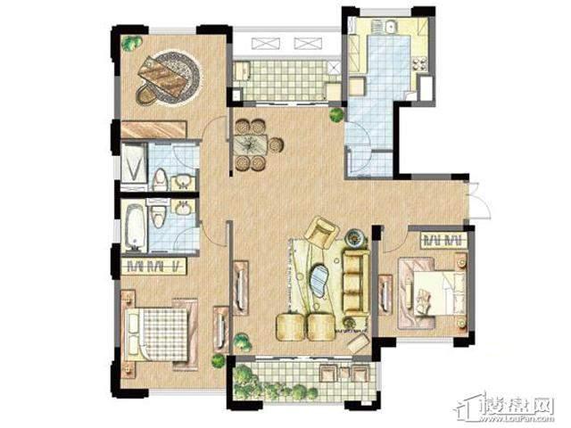 太湖锦园宽景公寓B1户型3室2厅2卫 134.00㎡