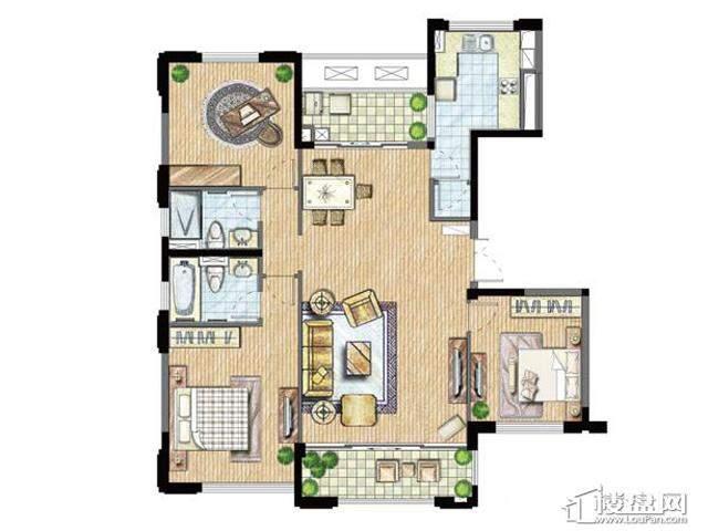 太湖锦园宽景公寓B5户型3室2厅2卫 145.00㎡