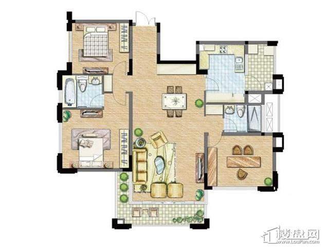 太湖锦园宽景公寓B6户型3室2厅2卫 143.00㎡