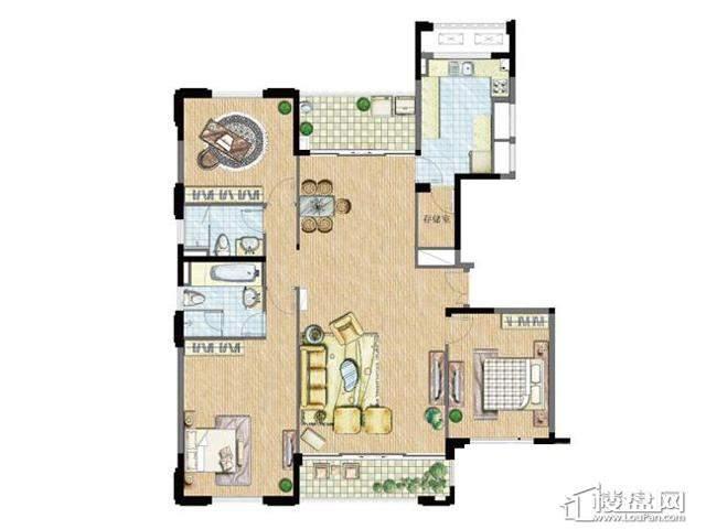 太湖锦园宽景公寓C3户型3室2厅2卫 162.00㎡