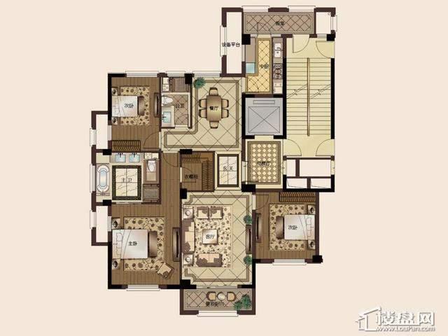 长甲地产·长泰国际社区C1户型3室2厅2卫 167.32㎡
