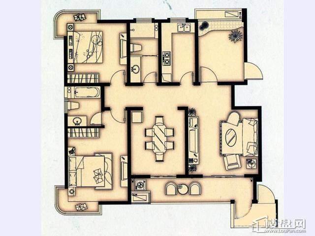 富安华庭A1户型3室2厅2卫 127.00㎡