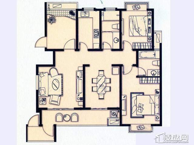 富安华庭B户型3室2厅2卫 127.00㎡