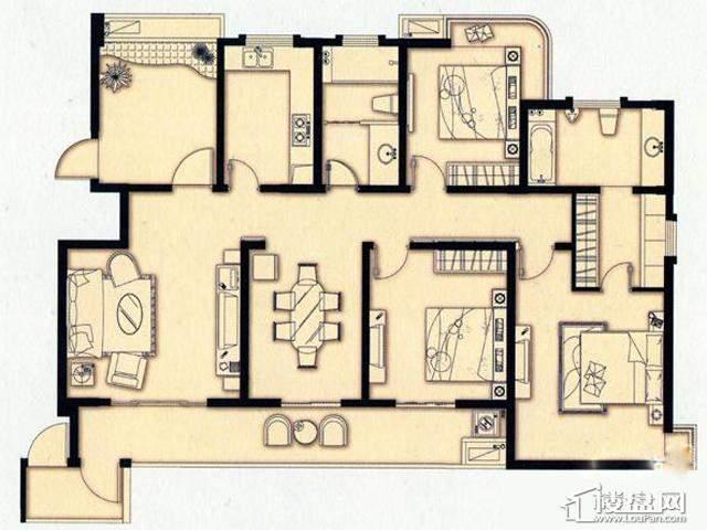 富安华庭户富安华庭H户型4室2厅2卫 164.00㎡型图