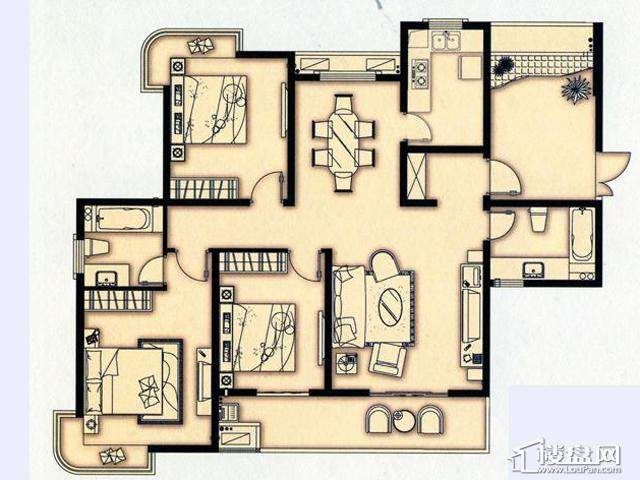 富安华庭J户型3室2厅2卫 137.00㎡