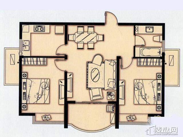 富安华庭K户型2室2厅1卫 87.00㎡
