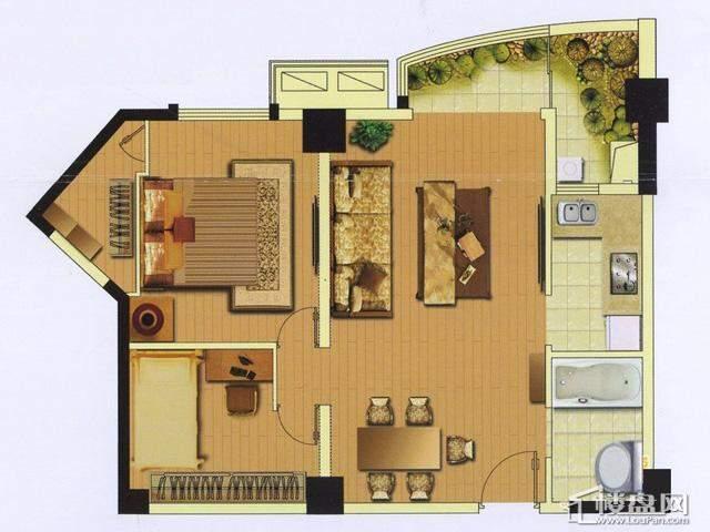 富安华庭精英荟06(05)户型1室2厅1卫 81.22㎡